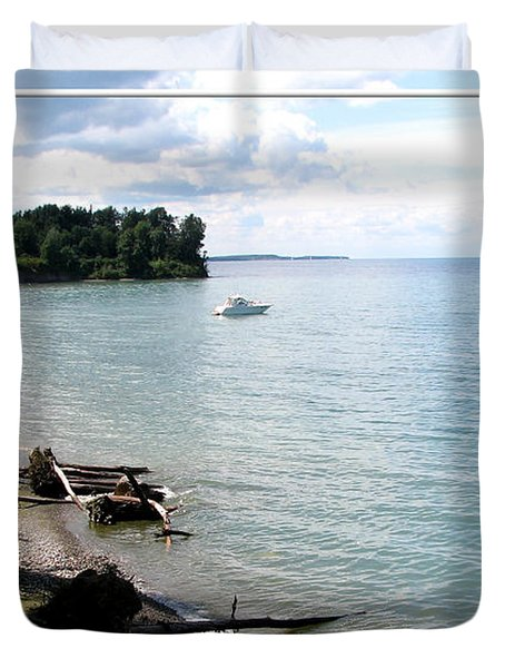 Boat On Lake Ontario Duvet Cover by Rose Santuci-Sofranko