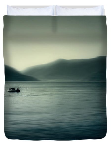 boat on the Lake Maggiore Duvet Cover by Joana Kruse