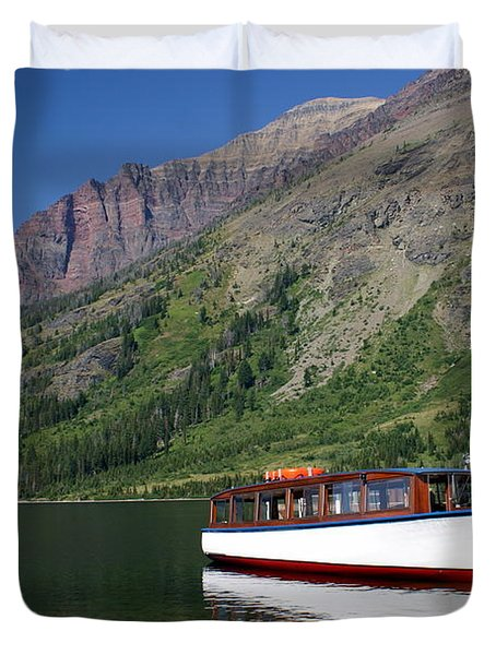 Boat On Two Medicine Duvet Cover by Marty Koch