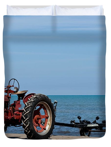 Duvet Cover featuring the photograph Boat Trailer by Barbara McMahon