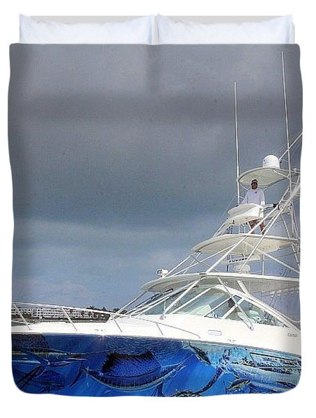Boat Wrap On Cabo Duvet Cover by Carey Chen