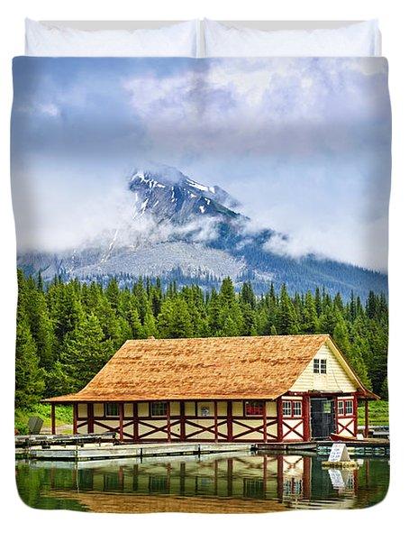 Boathouse On Mountain Lake Duvet Cover by Elena Elisseeva