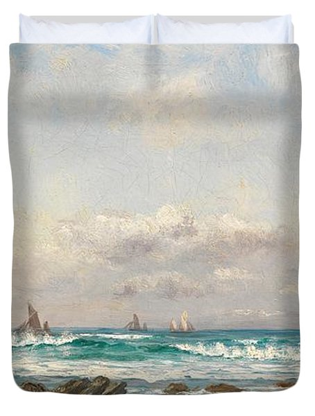 Boats At Sea Duvet Cover by William Lionel Wyllie