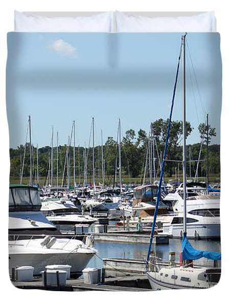Duvet Cover featuring the photograph Boats At Winthrop Harbor by Debbie Hart