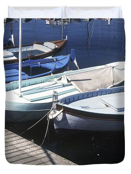 Boats In Harbor Duvet Cover by Axiom Photographic