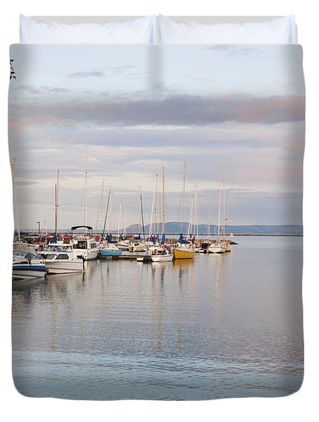 Boats In The Harbour At Sunset Thunder Duvet Cover by Susan Dykstra
