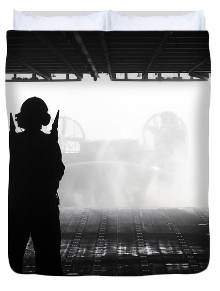 Boatswains Mate Directs A Landing Craft Duvet Cover