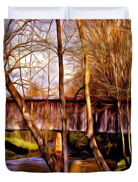 Bob White Covered Bridge Duvet Cover
