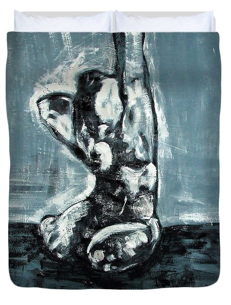 Bold Expressionistic Figure Painting Of Nude Female Reaching Upward To The Sky With Her Arm In Bw Duvet Cover