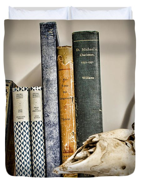 Books And Bones Duvet Cover by Heather Applegate