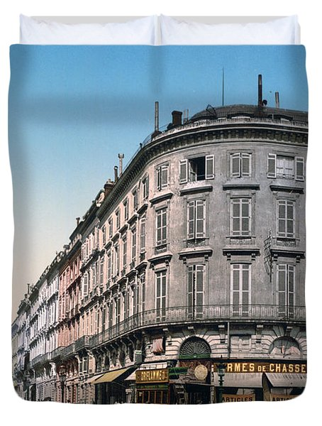 Bordeaux - France - Rue Chapeau Rouge From The Palace Richelieu Duvet Cover by International  Images