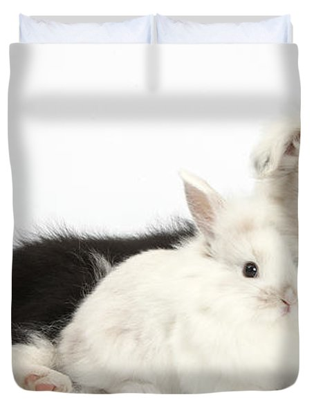 Border Collie Puppy With Baby Rabbit Duvet Cover by Mark Taylor