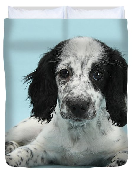 Border Collie X Cocker Spaniel Puppy Duvet Cover by Mark Taylor