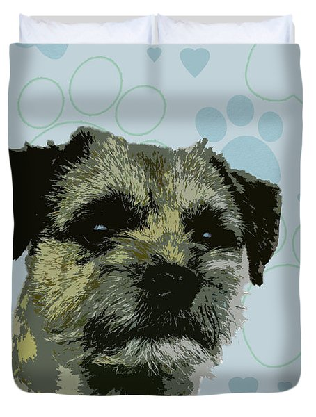 Border Terrier Duvet Cover by One Rude Dawg Orcutt