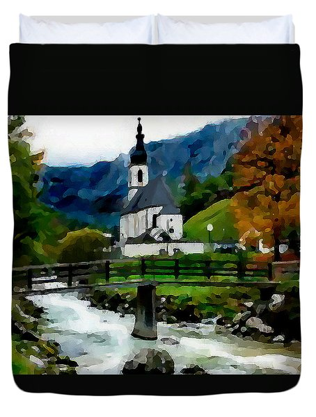 Bosnian Country Church Duvet Cover