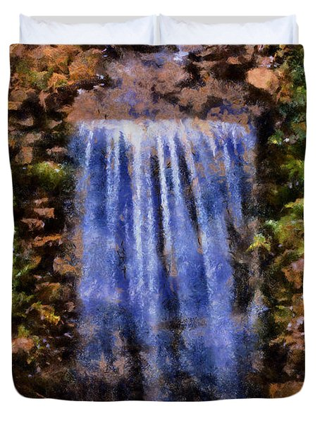 Duvet Cover featuring the digital art Botanical Garden Falls by Lynne Jenkins