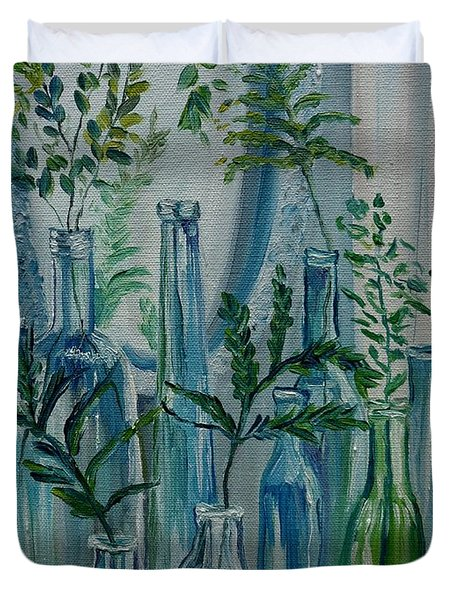 Duvet Cover featuring the painting Bottle Brigade by Julie Brugh Riffey
