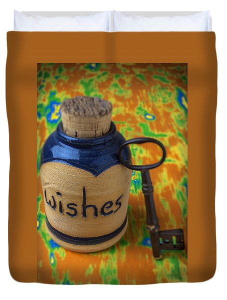 Bottle Of Wishes Duvet Cover by Garry Gay