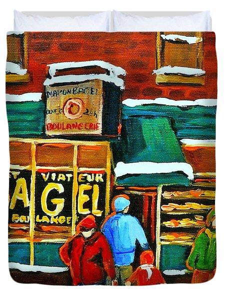 Boulangerie St.viateur Scene De Rue De Montreal En Hiver Duvet Cover by Carole Spandau