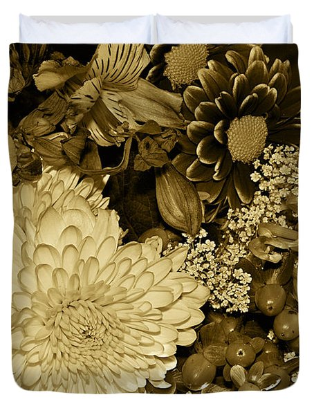 Bouquet In Sepia Duvet Cover by Phyllis Denton