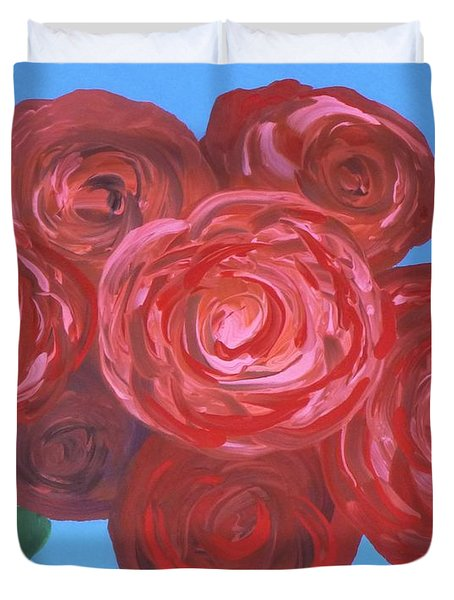 Duvet Cover featuring the painting Bouquet Of Roses by Alys Caviness-Gober