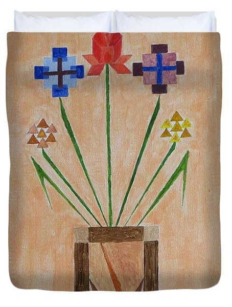 Duvet Cover featuring the painting Bouquet by Sonali Gangane