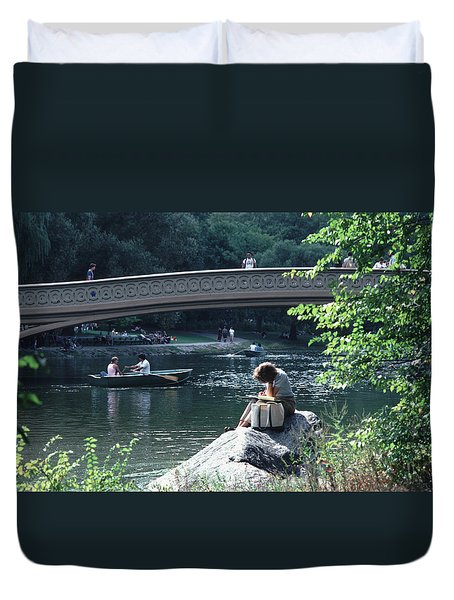 Duvet Cover featuring the photograph Bow Bridge In Central Park Nyc by Tom Wurl
