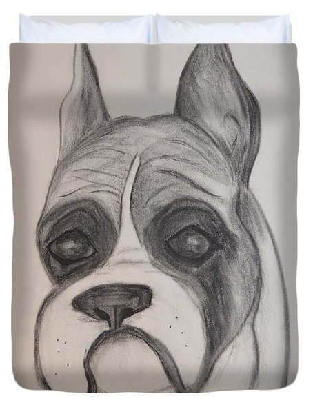 Duvet Cover featuring the drawing Boxer by Maria Urso