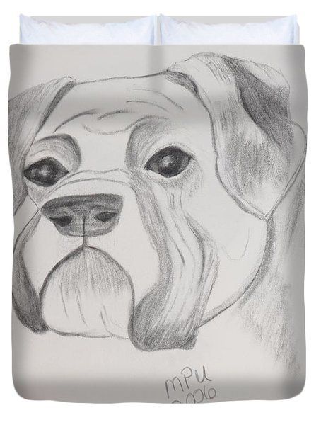 Duvet Cover featuring the drawing Boxer No Crop by Maria Urso