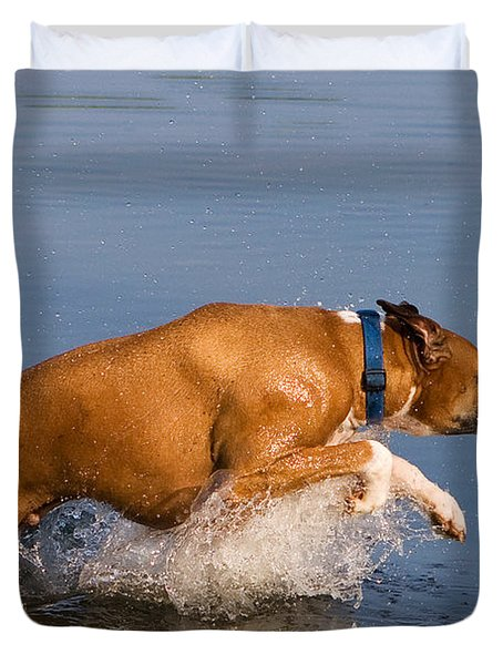 Boxer Playing In Water Duvet Cover by Stephanie McDowell