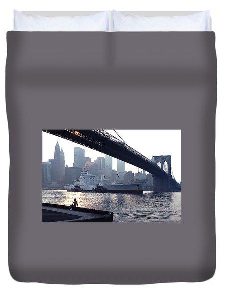 Boy Freighter Brooklyn Bridge Sunset Duvet Cover