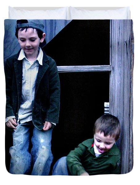 Boys In A Window Duvet Cover by Kelly Hazel