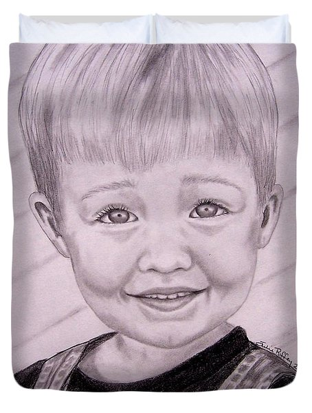 Duvet Cover featuring the drawing Brady by Julie Brugh Riffey