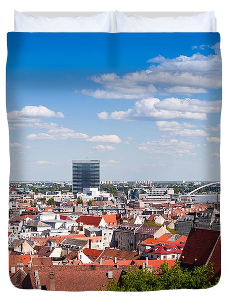 Duvet Cover featuring the photograph Bratislava Roofs by Les Palenik