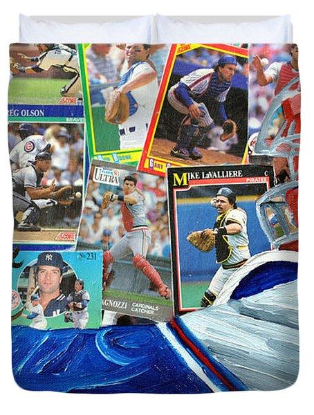 Braves Catcher Duvet Cover by Michael Lee
