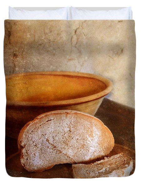 Bread On Rustic Plate And Table Duvet Cover by Jill Battaglia