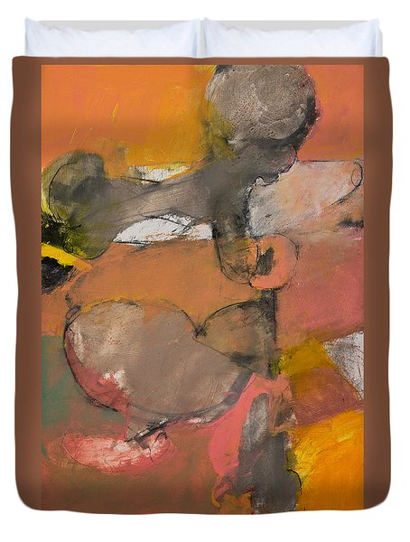 Duvet Cover featuring the painting Breastbone by Cliff Spohn