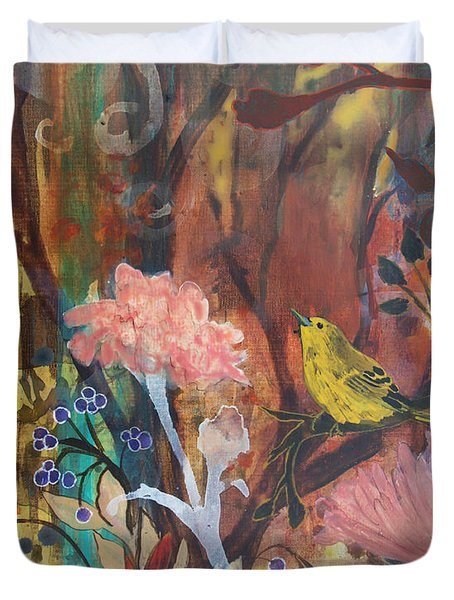 Duvet Cover featuring the painting Breath Of Cooler Air by Robin Maria Pedrero