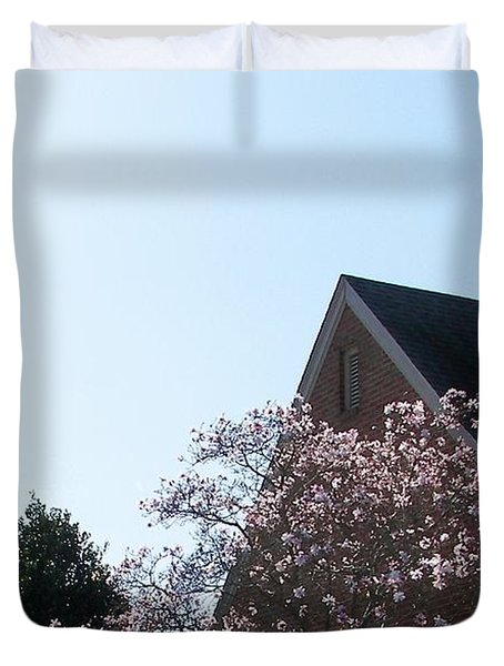 Duvet Cover featuring the photograph Brick And Blossom by Pamela Hyde Wilson