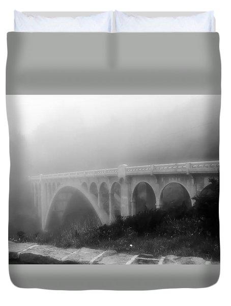 Bridge In Fog Duvet Cover