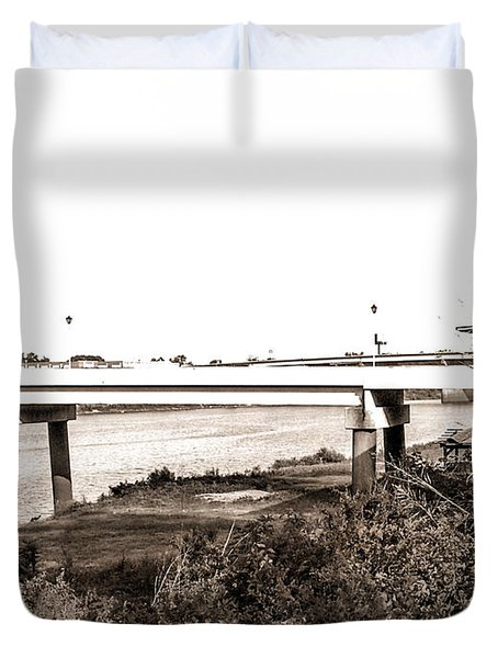 Duvet Cover featuring the photograph Bridge In Twin Cities by Ester  Rogers