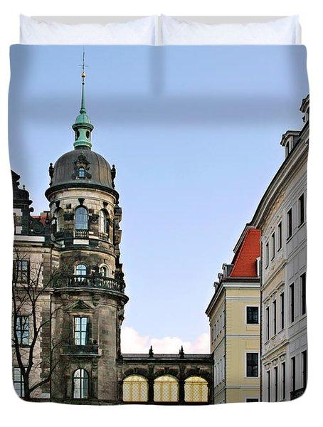 Bridge Over Taschenberg Street Dresden Duvet Cover by Christine Till