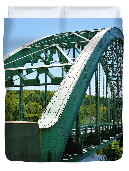 Duvet Cover featuring the photograph Bridge Spanning Connecticut River by Sherman Perry