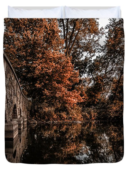 Duvet Cover featuring the photograph Bridge To Autumn by Tom Gort