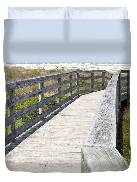 Bridge To The Beach Duvet Cover by Glennis Siverson