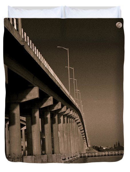 Bridge To The Moon Duvet Cover by Roger Wedegis
