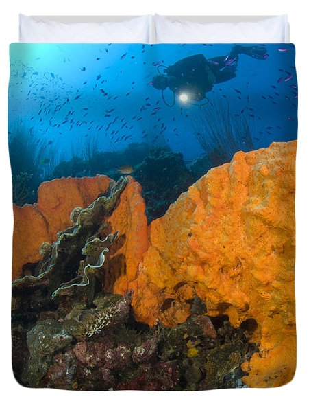 Bright Orange Sponge With Diver Duvet Cover by Steve Jones