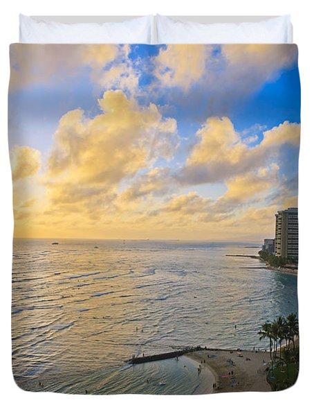 Bright Waikiki Sunset Duvet Cover by Tomas del Amo