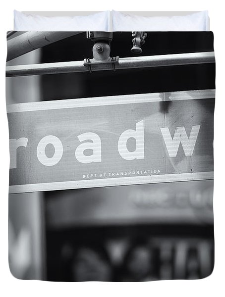 Broadway Street Sign II Duvet Cover by Clarence Holmes