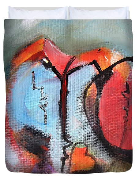 Duvet Cover featuring the painting Broken And Blue Heart by Gary Smith